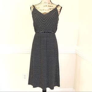 Ann Taylor Loft V Neck & Back Striped Sundress S